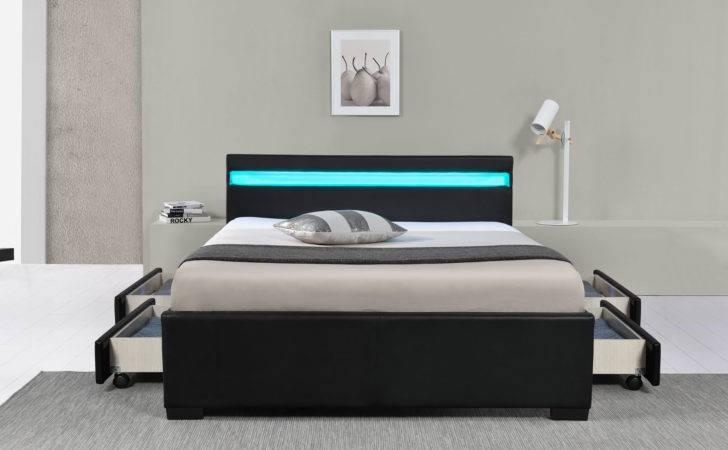 Details Led Bed Lyon Double Upholstered Slatted Frame