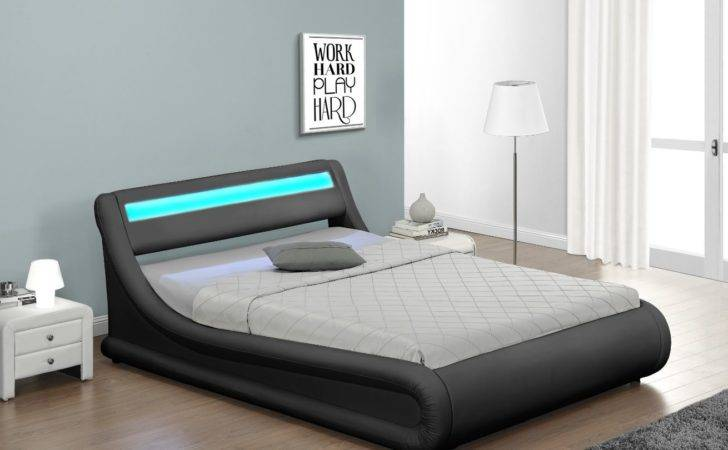 Details Rio Led New Designer Curved Ottoman Gas Lift Storage Bed