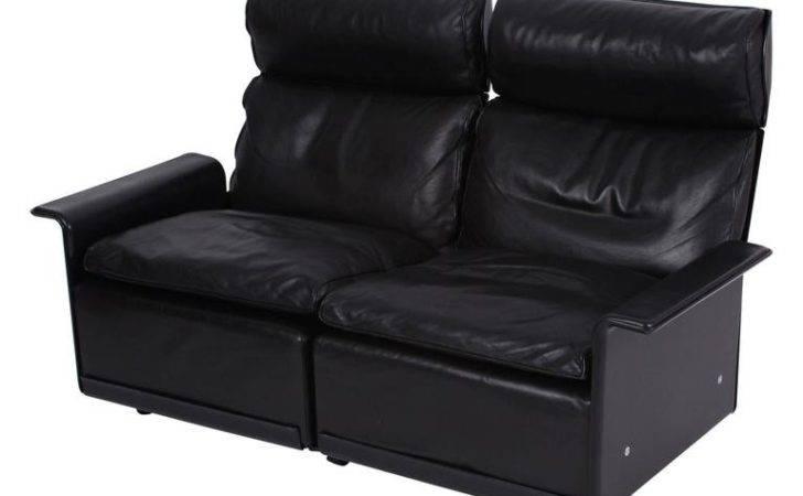 Dieter Rams Two Seat Sofa Black Leather Vitsoe