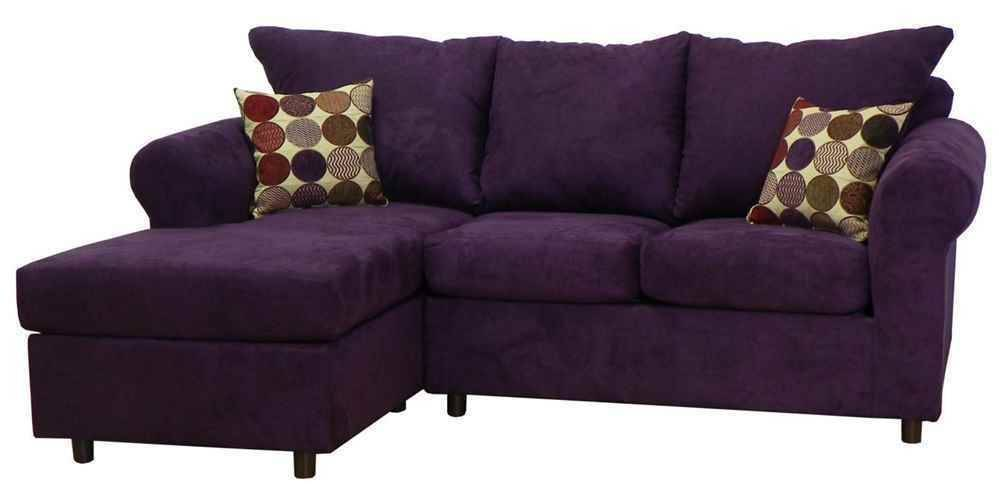 Dina Sectional Sofa Bulldozer Eggplant Fabric