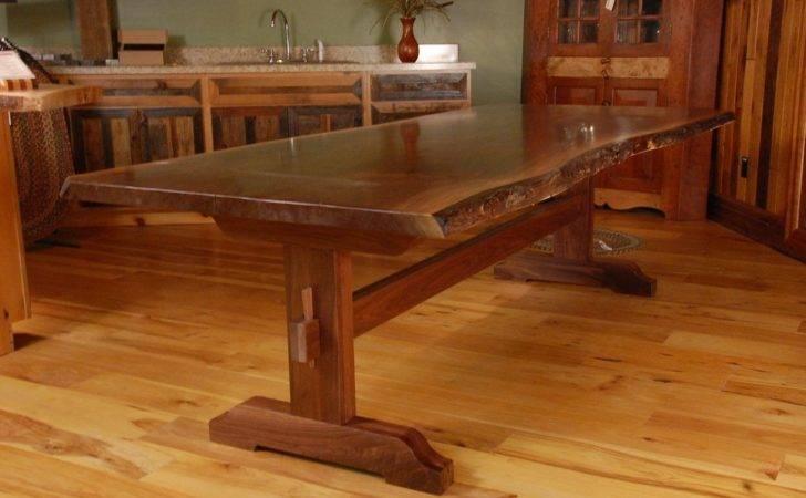 Dining Room Kitchen Tables Live Edge Walnut Slab Trestle