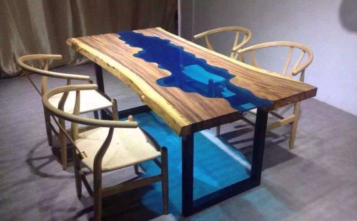 Dining Tables Acacia Live Edge River Wood Glass Table