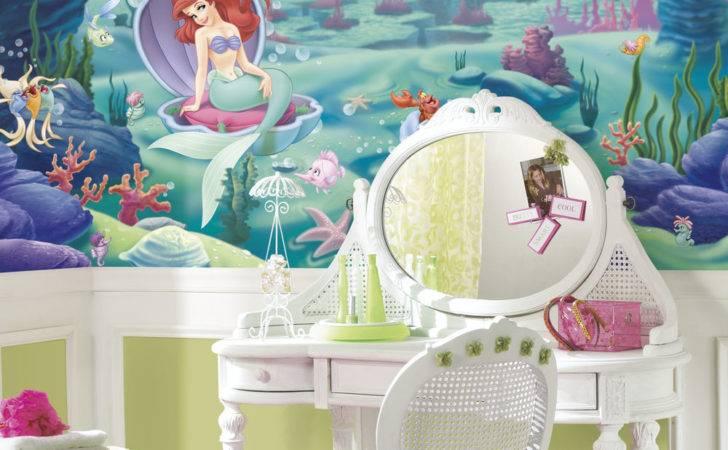 Disney Little Mermaid Mural Girls Green Wall Decor Bedroom
