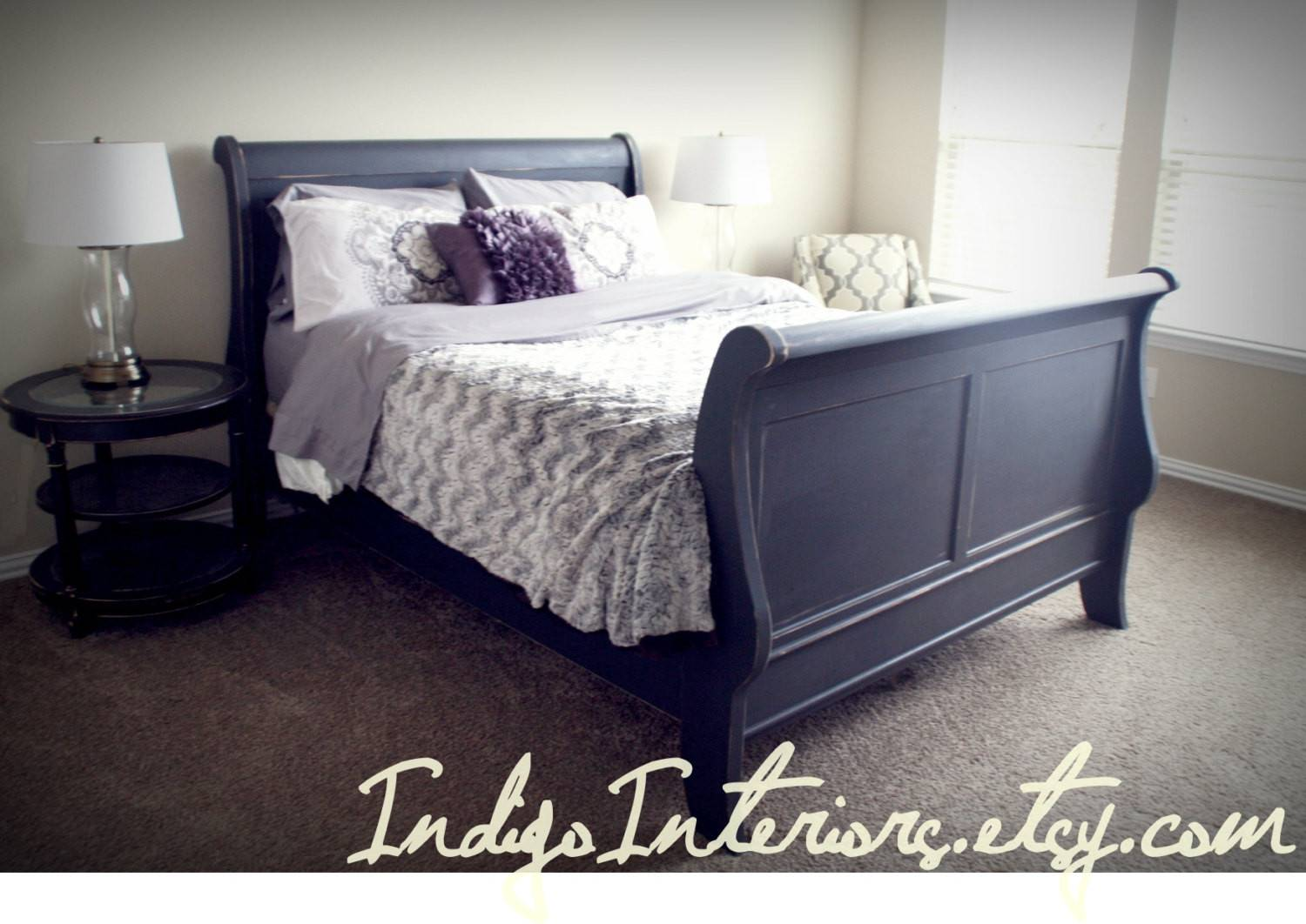 Distressed Black Queen Sleigh Bed