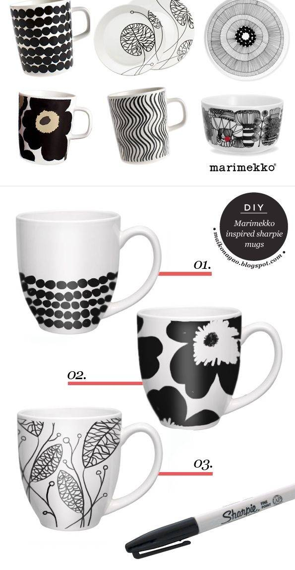 Diy Craft Fashion Design Blog Marimekko Inspired Sharpie Mugs