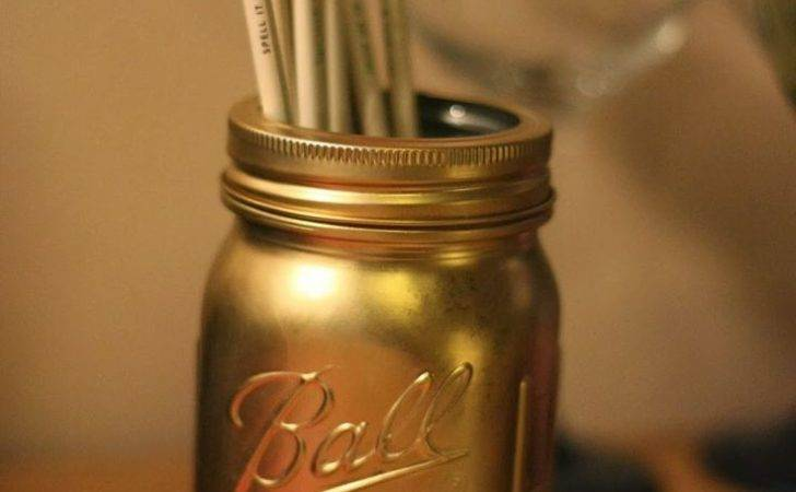 Diy Gold Mason Jar Glitter Pinterest