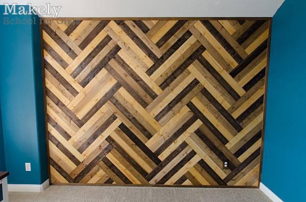 Diy Herringbone Wood Paneled Wall Makely School Girls