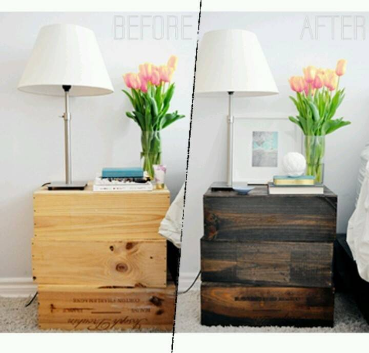 Diy Ideas Wine Crates Nightstand End Tables