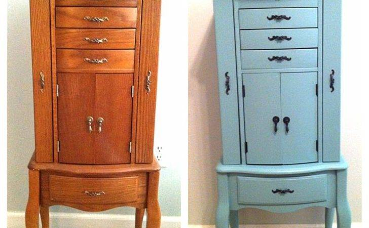 Diy Jewelry Armoire Redo Painted Valspar Patina Blue But Color