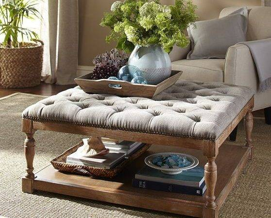 Diy Padded Large Ottoman Upholstered Storage Coffee Table Cool