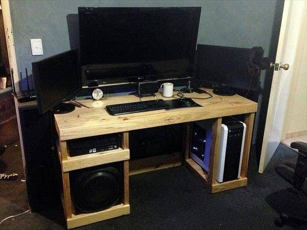 Diy Reycled Wood Sectional Computer Desk Pin Pinterest