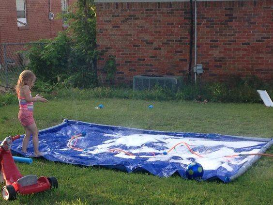 Diy Splash Pad Items Used Tarp Wal Mart Pool Noodles