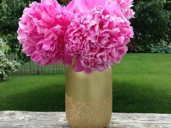 Diy Tutorial Mason Jars Gold Glitter