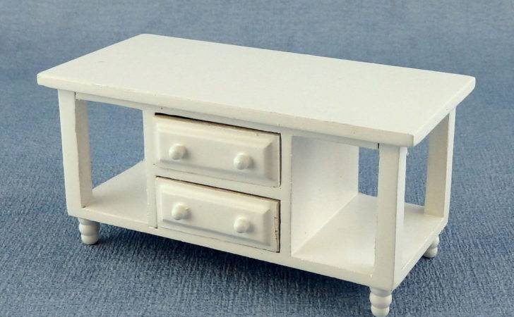 Dolls House Miniature Living Room Furniture Modern White Television