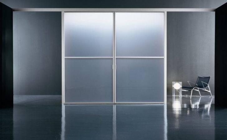 Door Opaque Glass Panels Steel Frame Modern Room Design