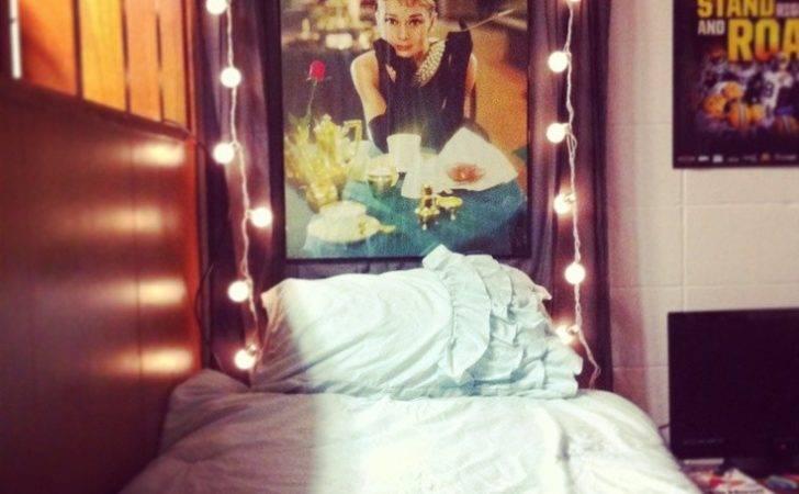 Dorm Diy Curtain Headboard String Lights Framed Poster