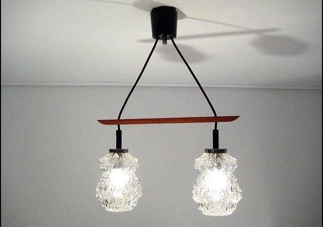 Double Clear Bubble Glas Ceiling Lamp Teak Mounting Austrian Italian