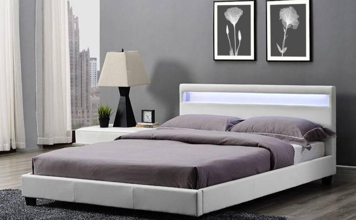 Double King Bed Frame Led Headboard Night Light Mattress