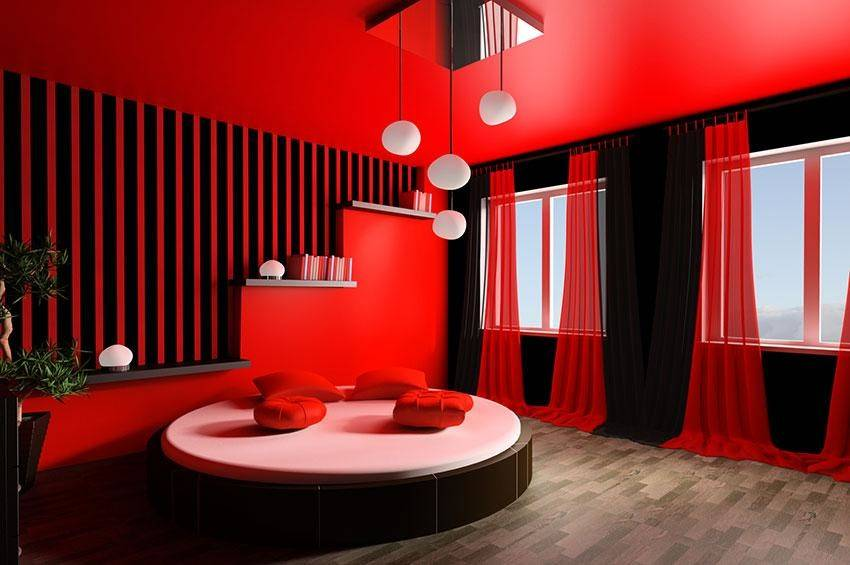 Dramatic Red Moodsetter Room Features Ceiling