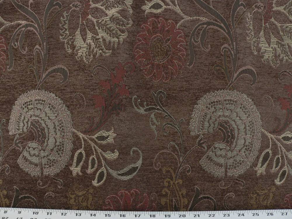 Drapery Upholstery Fabric Contemporary Chenille Floral Red