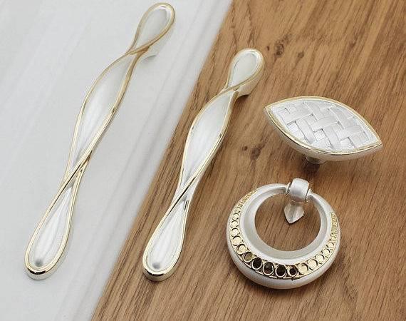 Dresser Knobs Pulls Drawer Pull Handles White Gold Kitchen Cabinet