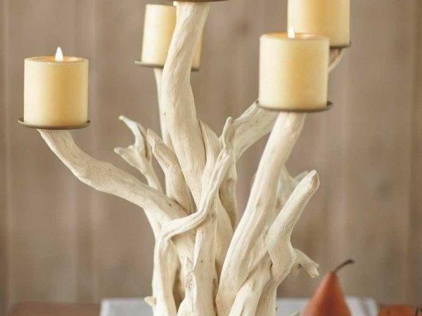 Driftwood Candelabra Centerpieces Candles Pinterest