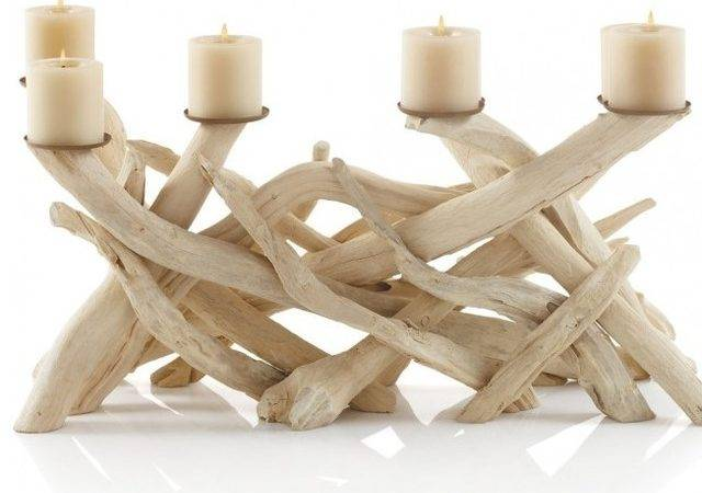 Driftwood Candelabra Tropical Candleholders Vivaterra