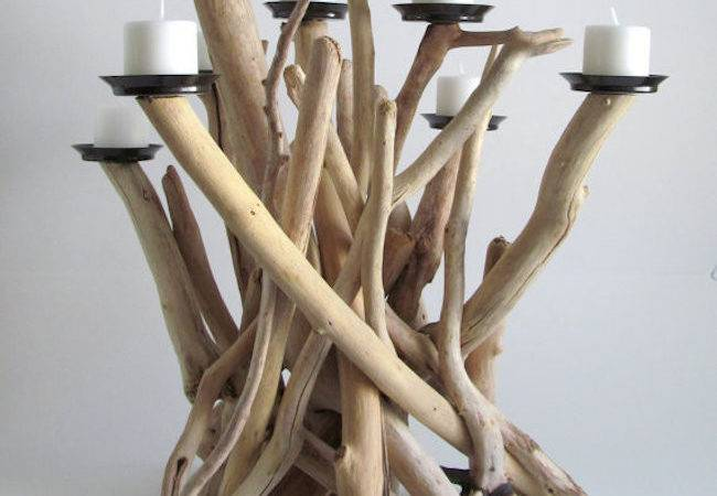 Driftwood Candelabra Votive Candles Lit
