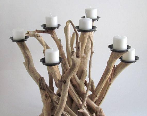 Driftwood Candle Candelabra Holder