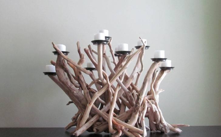Driftwood Ten Candles Candelabra White Bleached