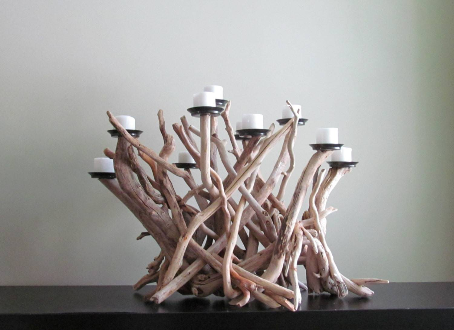 Driftwood Ten Candles Candelabra White Bleached