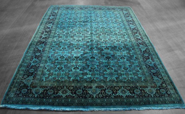 Dyed Teal Vintage Persian Rug Woh West Hudson Unique