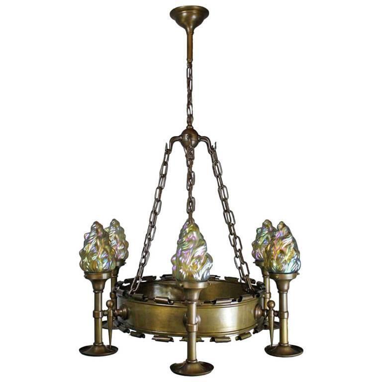Early Tudor Revival Ring Six Light Fixture Sale Stdibs