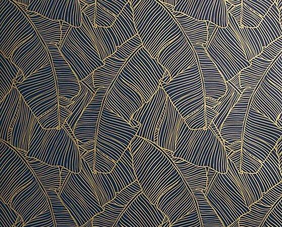 Easiest Way Leaf Impression Graphic Navy Gold Frond Design