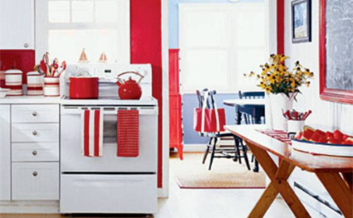 Easy Red Kitchen Walls White Cabinets Lot More Interior