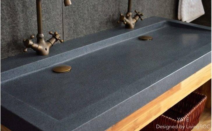 Eco Friendly Clear Ceramic Stone Sinks Trendy Grey Granite Yate Double