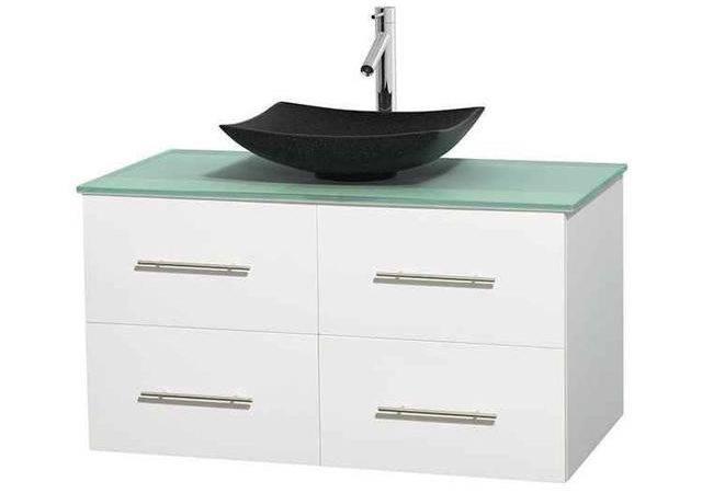 Eco Friendly Single Bathroom Vanity Arista Black Granite Sink