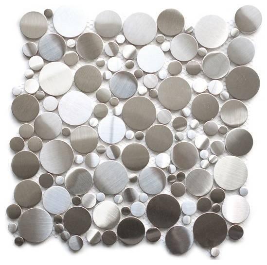 Eden Mosaic Tile Random Circles Stainless Steel Emt Sil