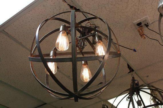 Edison Bulbs Wine Barrel Orb Chandelier Hanging Sphere