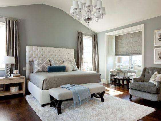 Elegant Bedroom Grey White Splash Blue Bedrooms