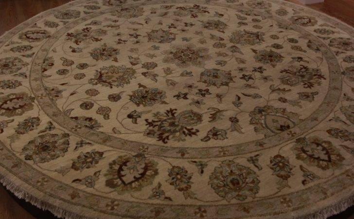 Elegant High End Floral Oriental Circle Rug Large Beige Persian Oval