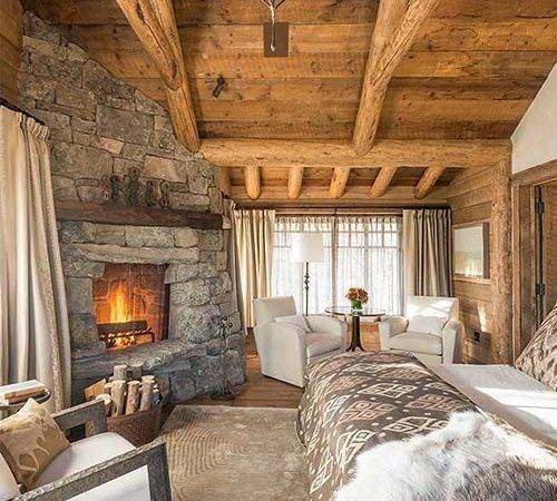 Elegant Rustic Cabin Bedroom Perfect Fall Love Fireplace