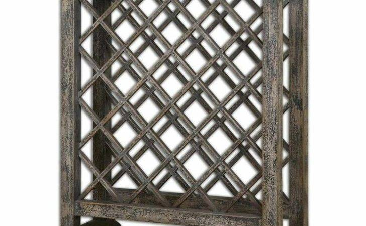 Elegant Weathered Wood Wine Rack Table Lattice Gray Rustic Distressed