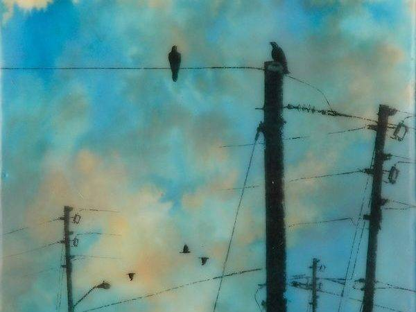 Encaustic Photography Crows Brilliant Spring Sky
