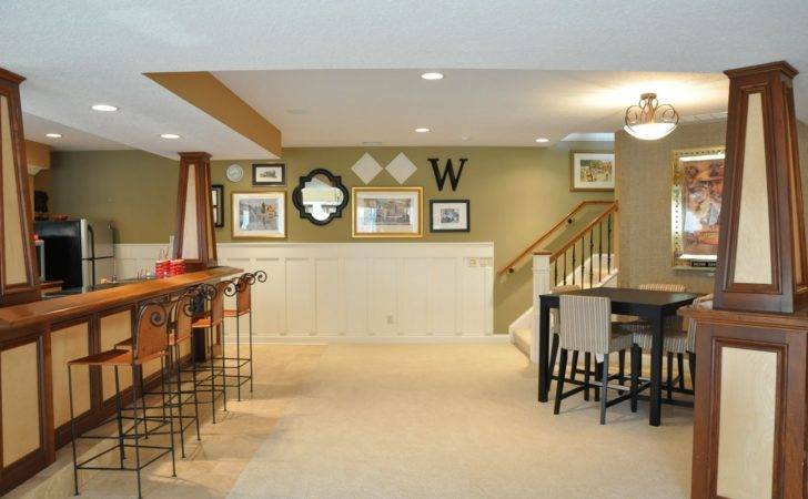 Endearing Lime Green Accents Wall Paint Contemporary Basement Idea