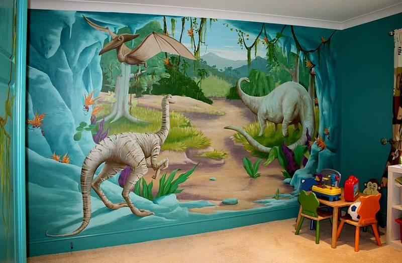 Enliven Your Kids Bedroom Dinosaur Themed Wall Art Murals