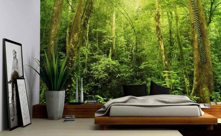 Entrance Dark Leafy Forest Wall Mural Removable