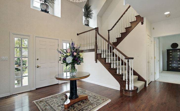 Entrance Foyer Hard Wood Floors Table Half Landing Stairs