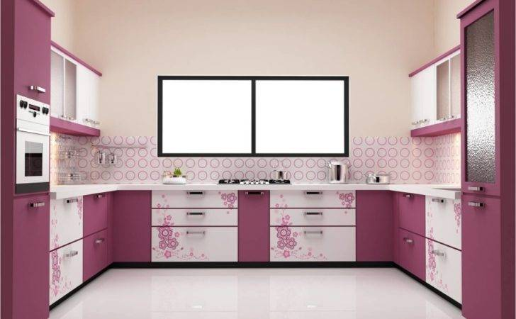 Entrancing Furniture Modern Design Purple Modular Kitchen
