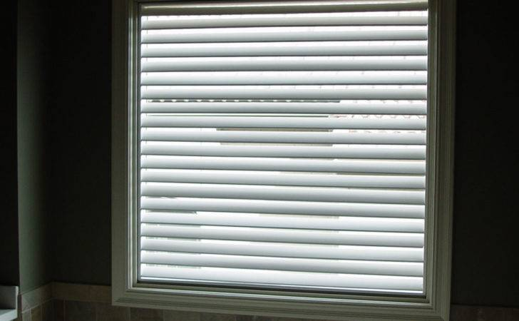 Etched Window Wood Blinds